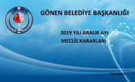 2019 YILI ARALIK AYI MECLİS KARARLARI