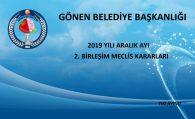 2019 YILI ARALIK AYI 2. BİRLEŞİM MECLİS KARARLARI