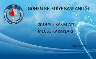 2019 YILI KASIM AYI MECLİS KARARLARI