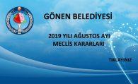 2019 YILI AĞUSTOS AYI MECLİS KARARLARI