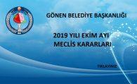 2019 YILI EKİM AYI MECLİS KARARLARI