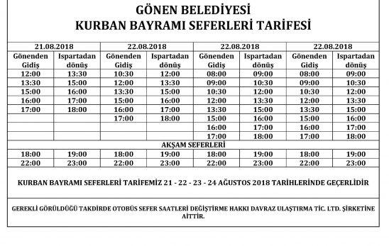 KURBAN BAYRAMINDA OTOBÜS SEFER TARİFESİ